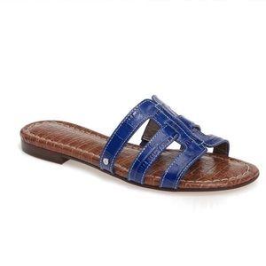 Sam Edelman Berit Blue Croc Embossed Slide Sandal